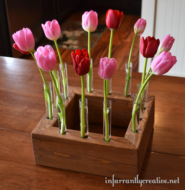 tulip centerpiece from 2x4 lumber